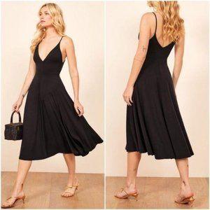 NWT Reformation Strada Midi Dress Black V-Neck L